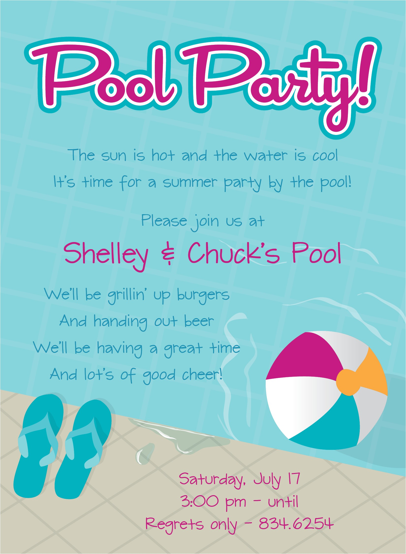 pool party invitation wording
