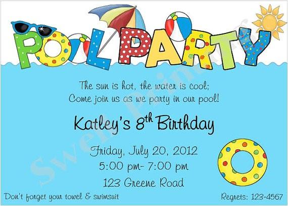 pool party invitation pool birthday