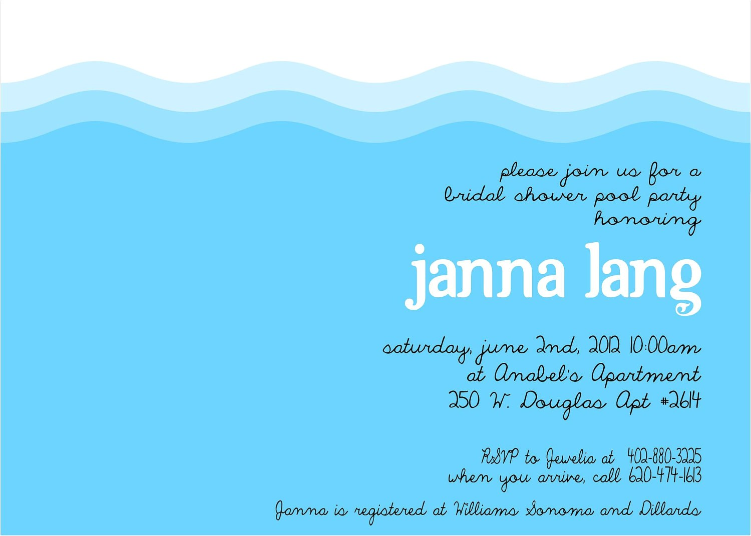 wedding shower invitations pool party