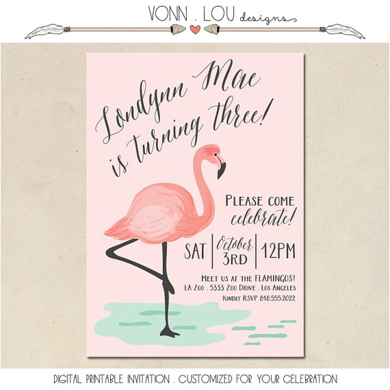 flamingo invitation flamingo party pool party baby shower bridal shower wedding hand illustrated diy custom invite printable
