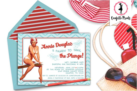 retro bridal shower invitation taking plunge