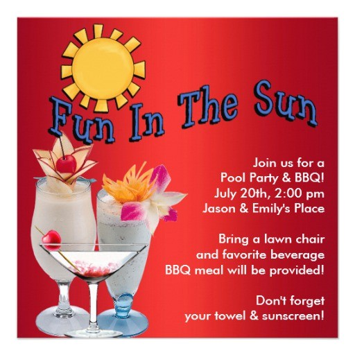 adult pool party bbq announcements