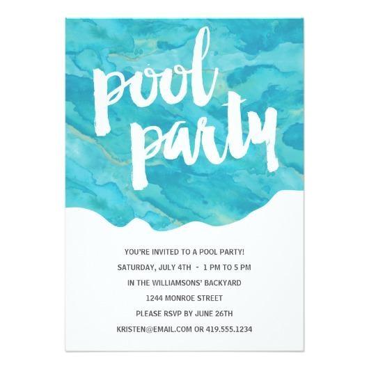 1230 backyard splash pool party invitation