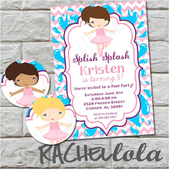 ballerina pool party birthday invitation