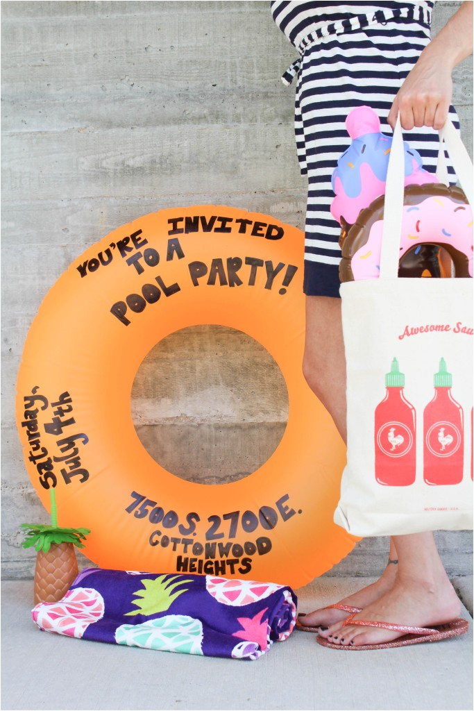 diy pool party float invitation