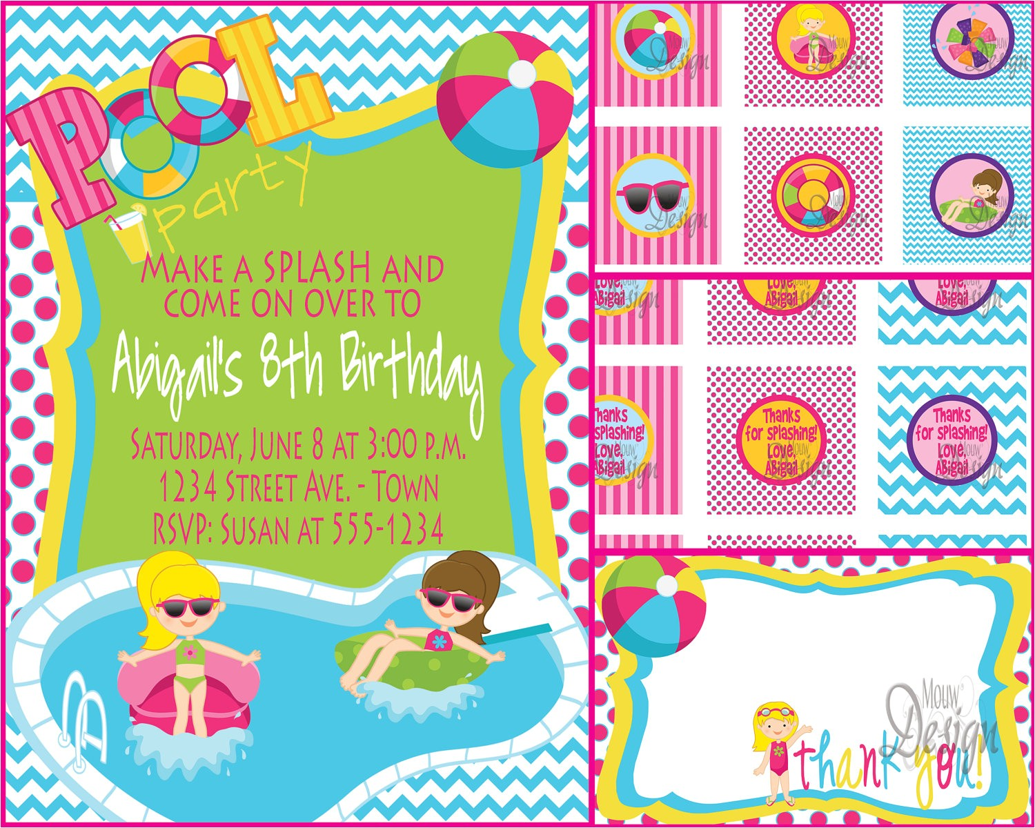 pool party invitations designs