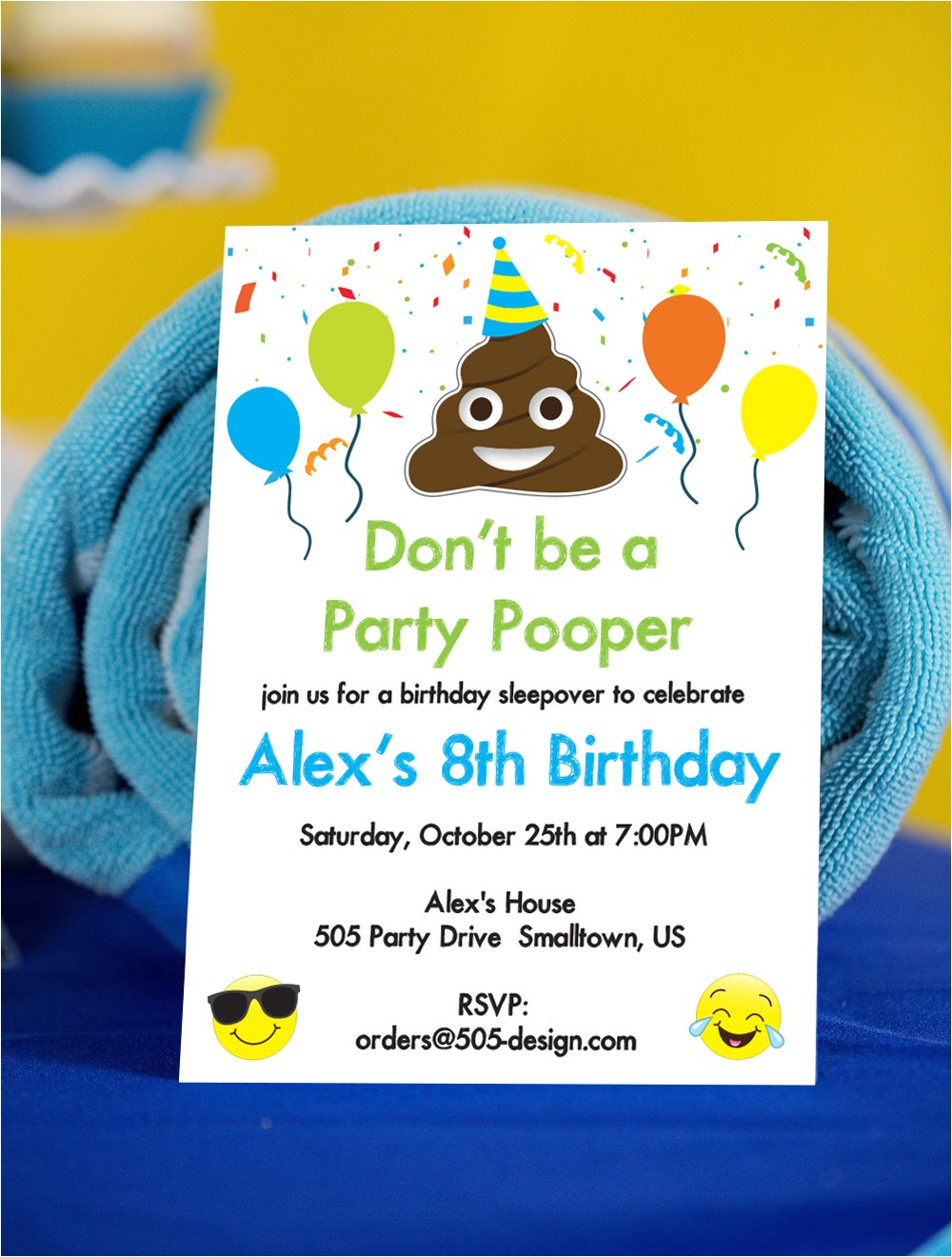 emoji party pooper invitation poop emoji invitation