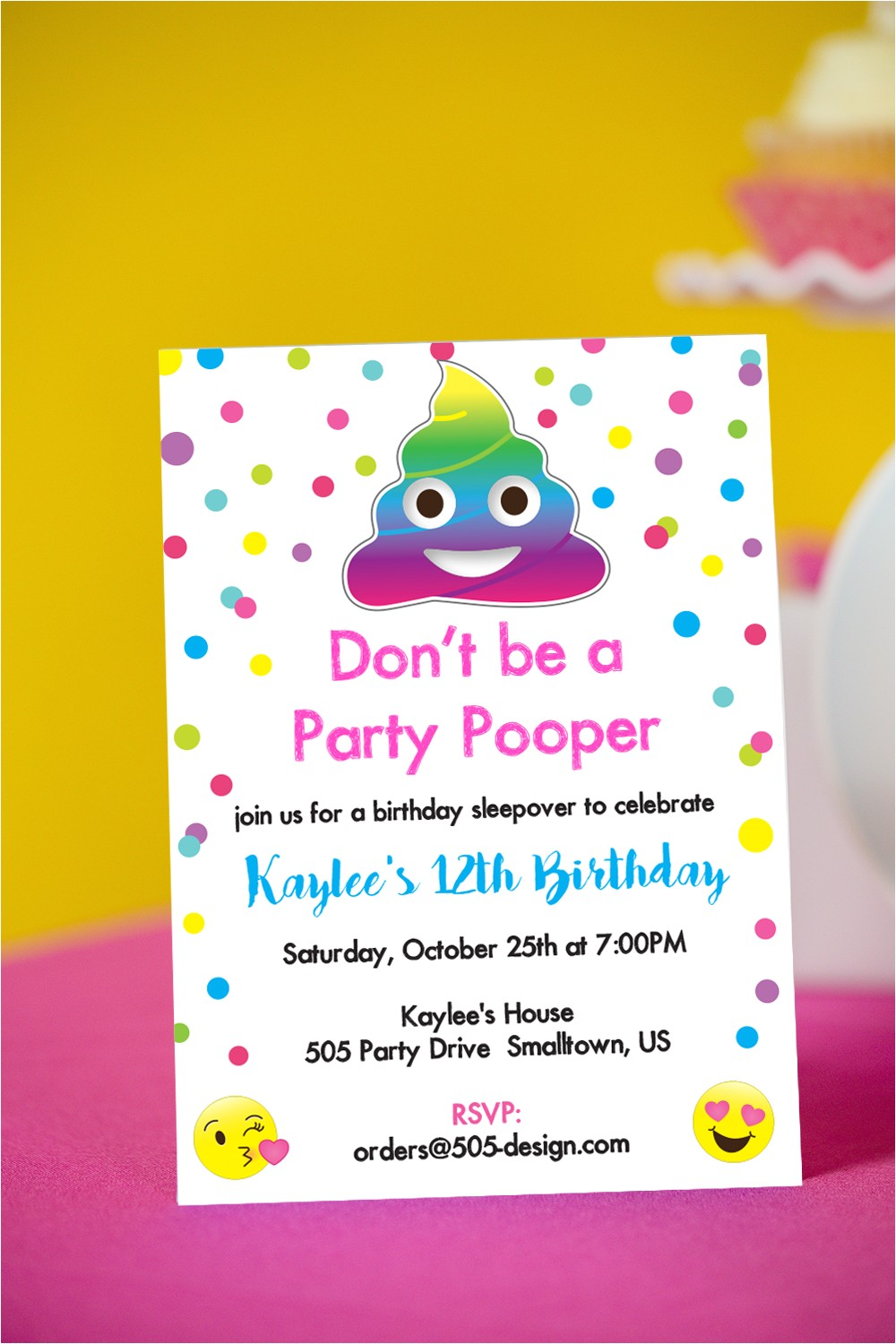 party pooper invitation rainbow poop emoji invitation