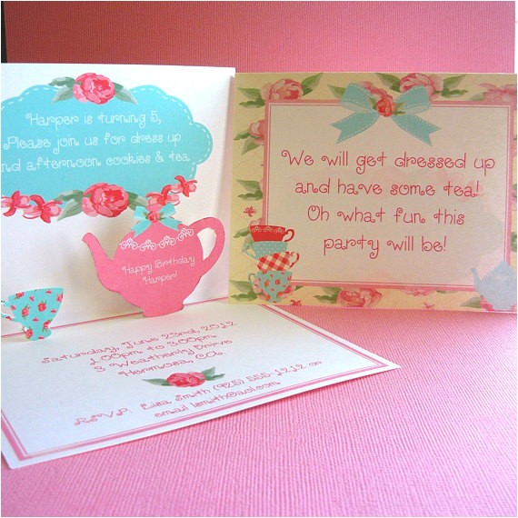 shabby chic tea pop up invitations for