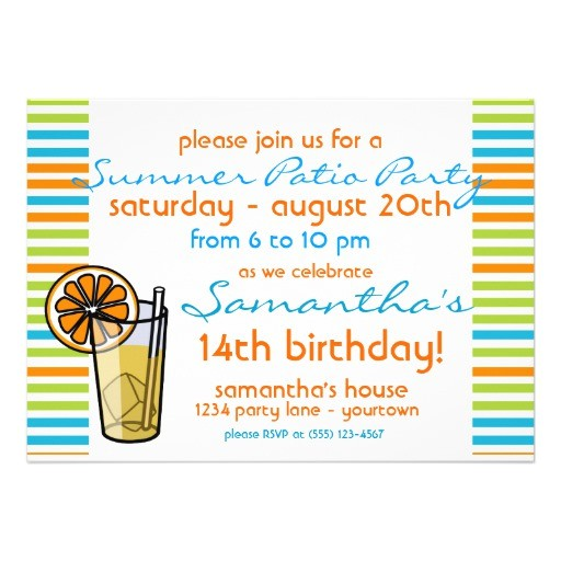 summer patio party invitation