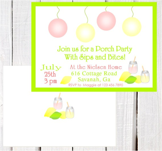summer porch party invitation vintage lemonade