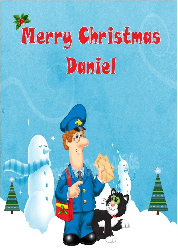 personalised postman pat christmas card 1196 p