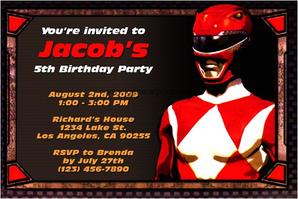 power rangers birthday party invitations