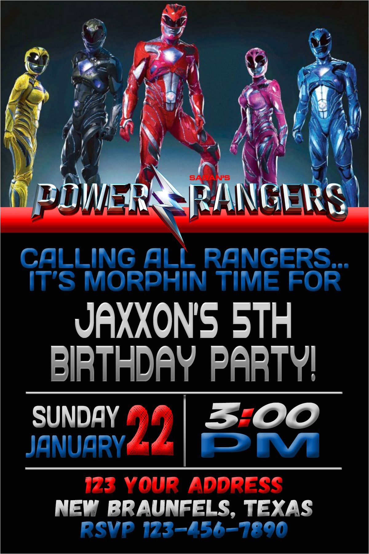 power rangers birthday invitations free