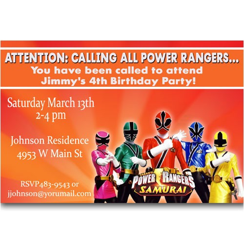 power rangers birthday invitations
