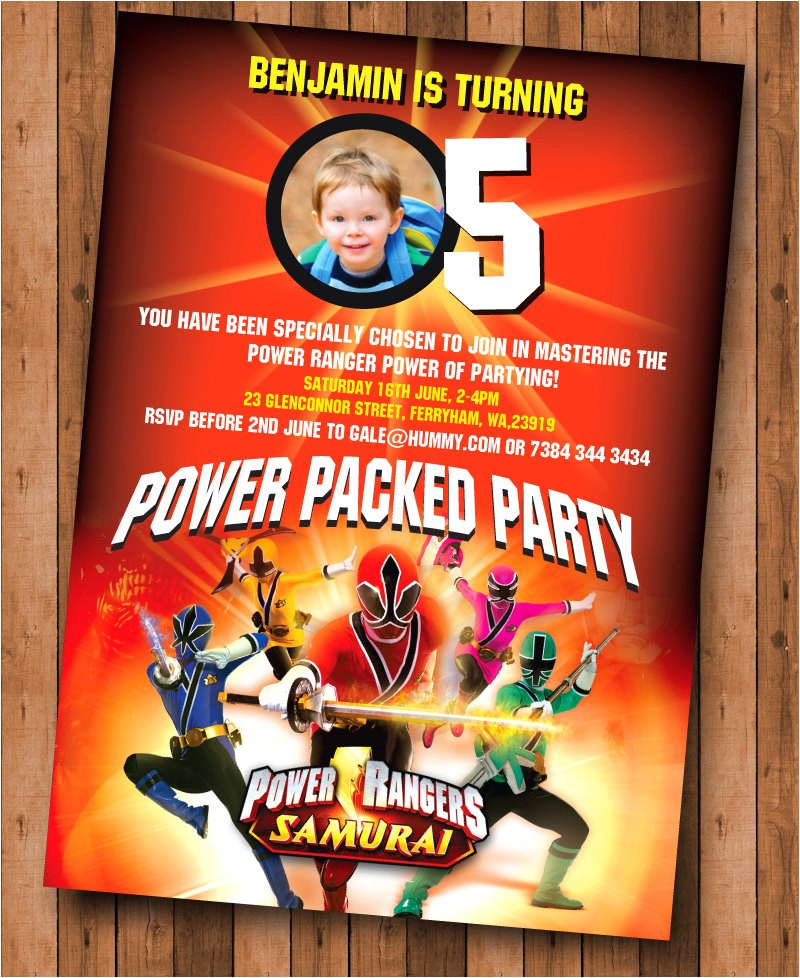Power Ranger Birthday Invitations Power Rangers Samurai Birthday Invite Printable Digital File