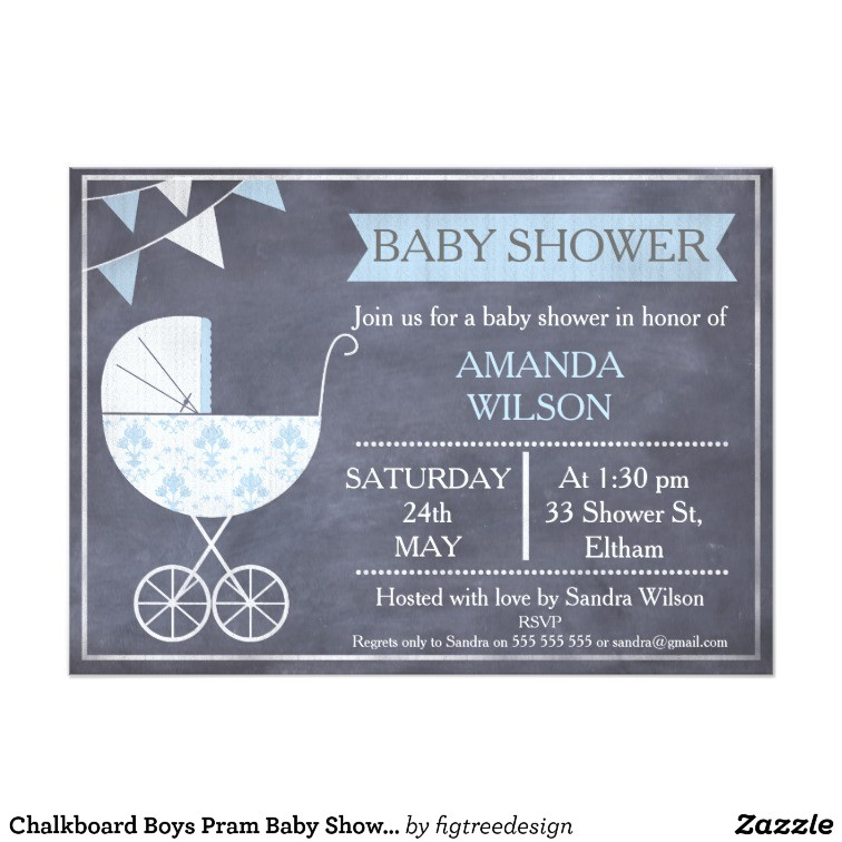 chalkboard boys pram baby shower invitation