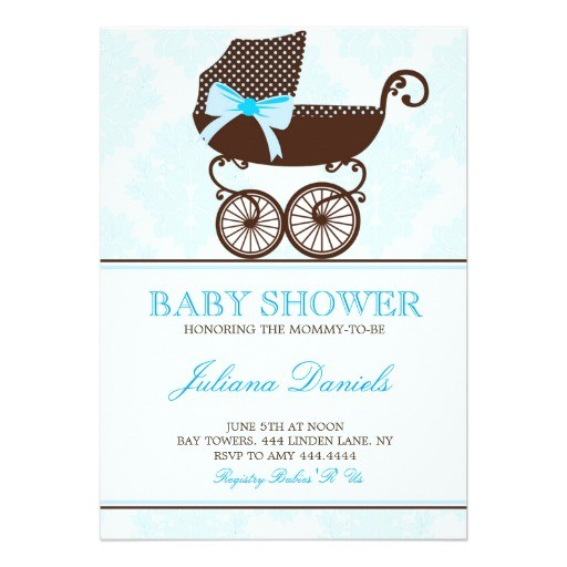 elegant pram boy baby shower invitations