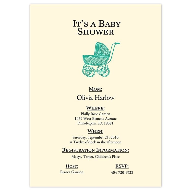 pram baby shower invitation 9615