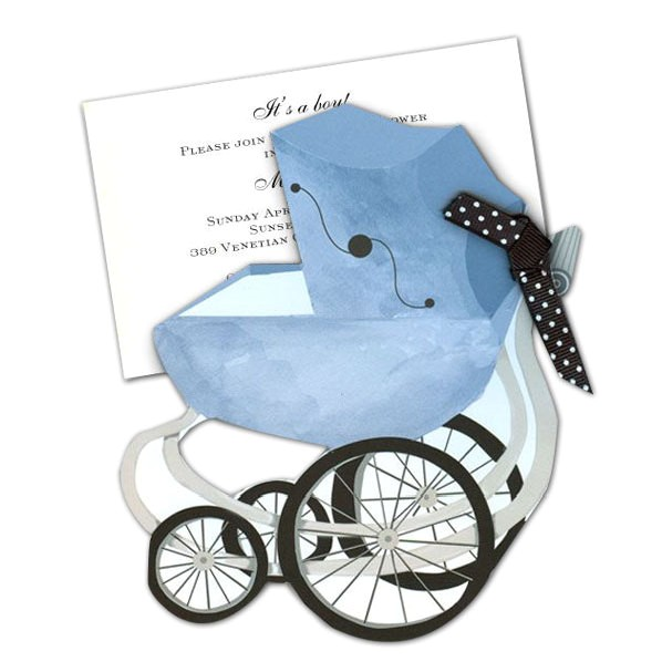 Pram White Baby Shower Invitations p 149 AW790