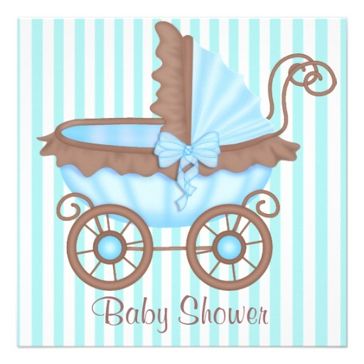vintage pram baby shower invitation aquablue