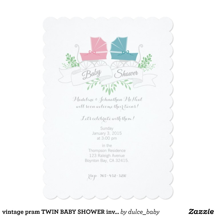 Pram Baby Shower Invitations Vintage Pram Twin Baby Shower Invitation