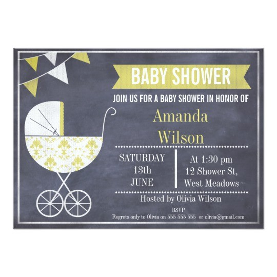 yellow pram chalkboard baby shower invitation