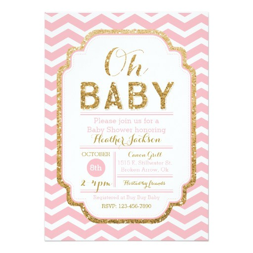 pink and gold baby shower invitations baby girl 5x7 paper invitation card