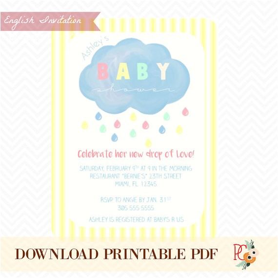pre made baby shower invitation digital