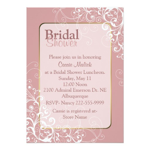 pretty dusty rose custom bridal shower invitation 161387472622979254