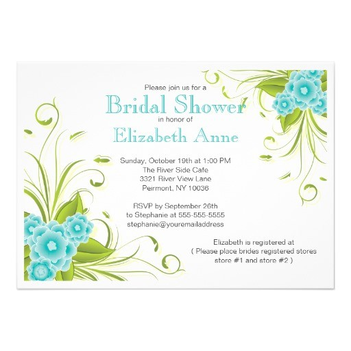 pretty modern floral bridal shower invitation 161432632060630637