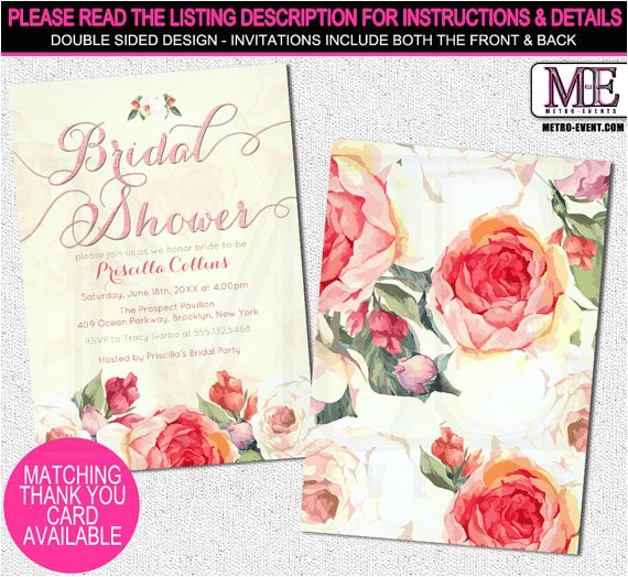 pretty peach floral bridal shower invitations