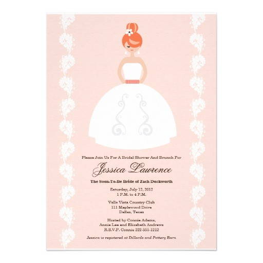 pretty redhead bridal shower pink invitations 161313518622587946