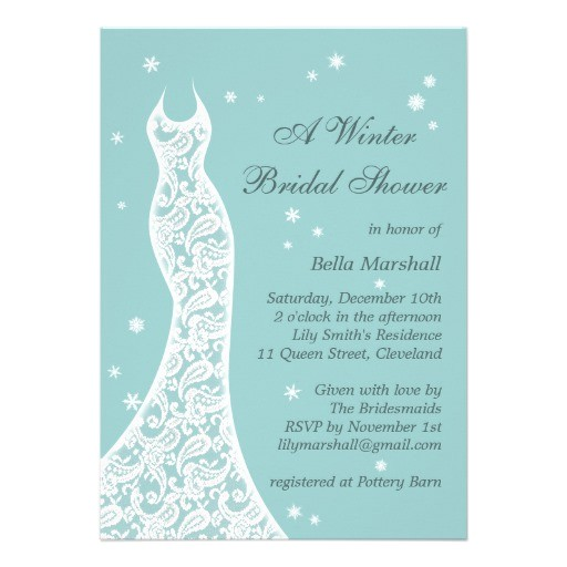 pretty turquoise winter bridal shower invitation 161347008921389572