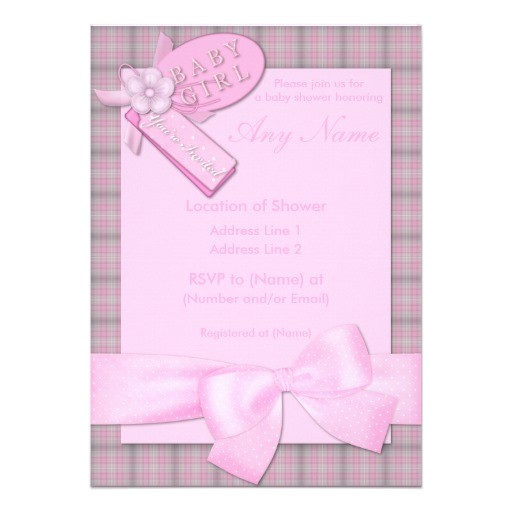 pretty in pink baby girl baby shower invitations