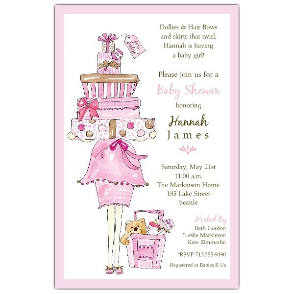 Pretty In Pink Girl Baby Shower Invitations p 622 58 100