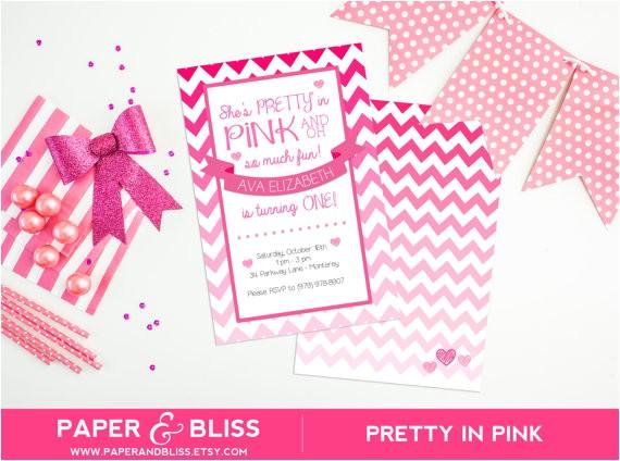 pretty in pink birthday invitation