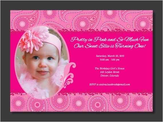 pretty in pink birthday photo invitation