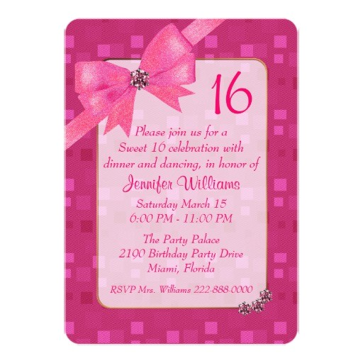 pretty in pink sweet 16 birthday party invitation