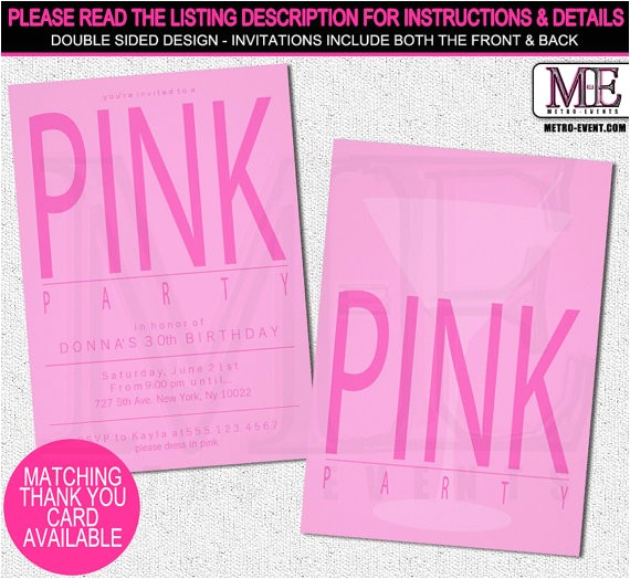 pretty pink party invitations