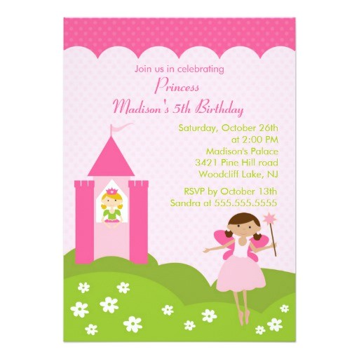 princess birthday party pretty in pink invitation