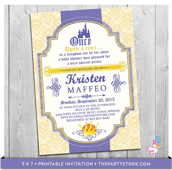 Prince Baby Shower Invites Prince Baby Shower Invitation Printable Baby Shower or