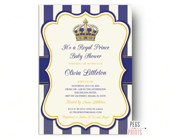 royal prince baby shower invitations printable
