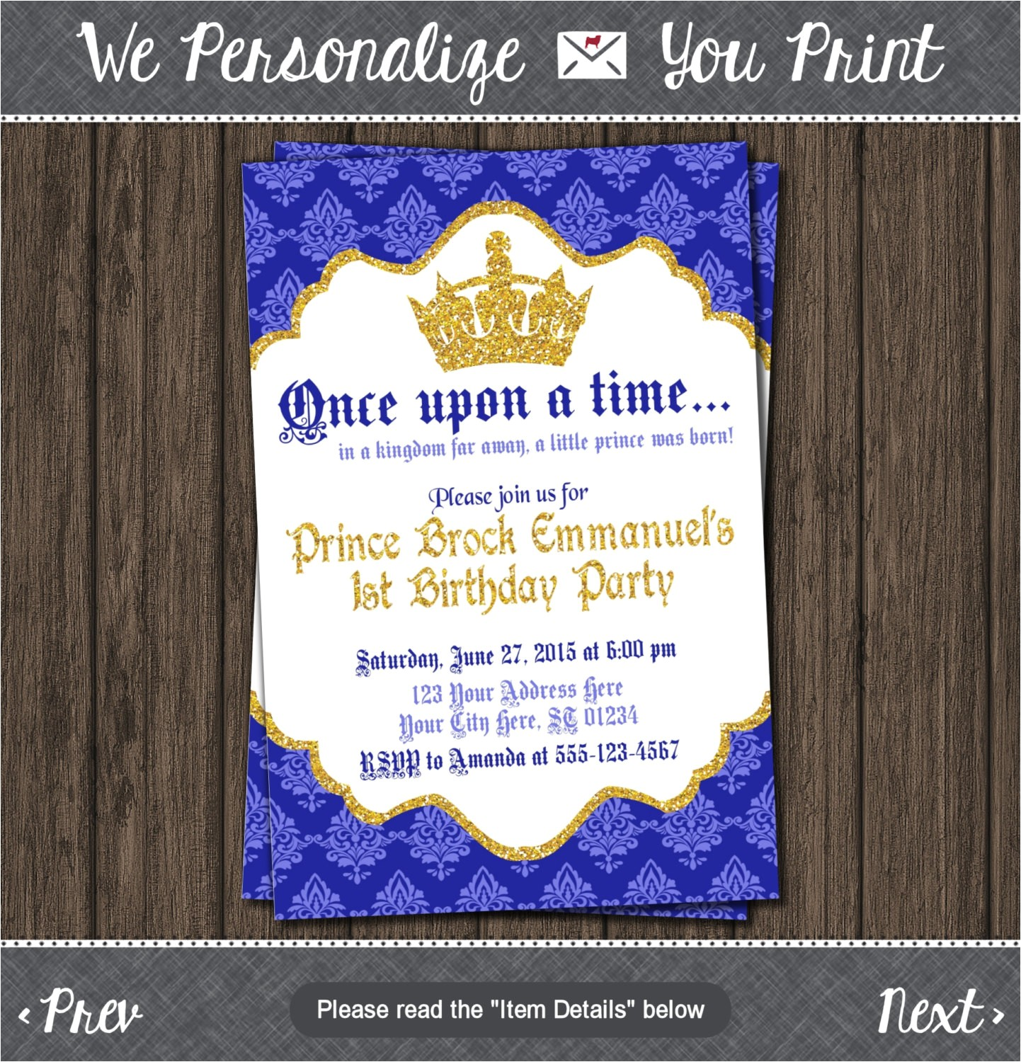 prince birthday invitation first