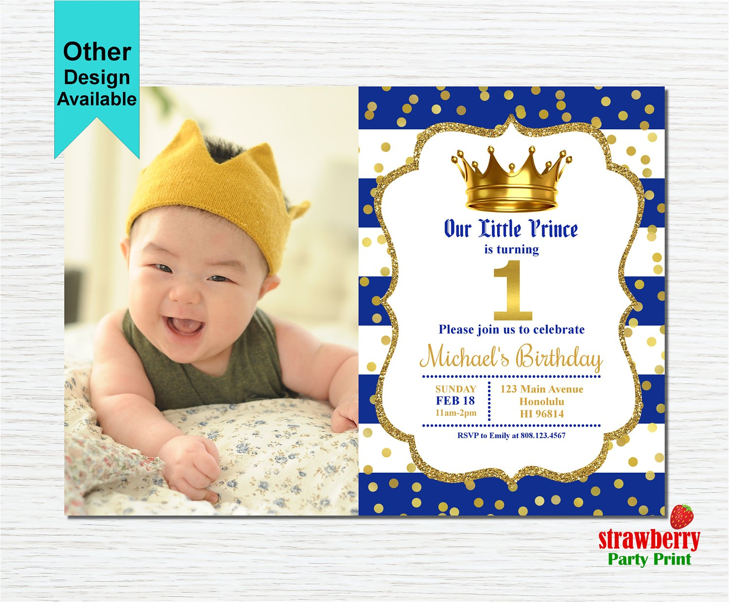 prince birthday invitation royal blue