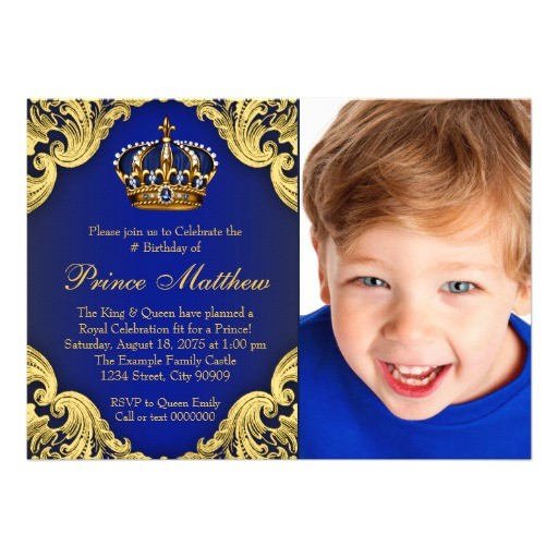 royal blue gold prince birthday party invitations 256274628605815697