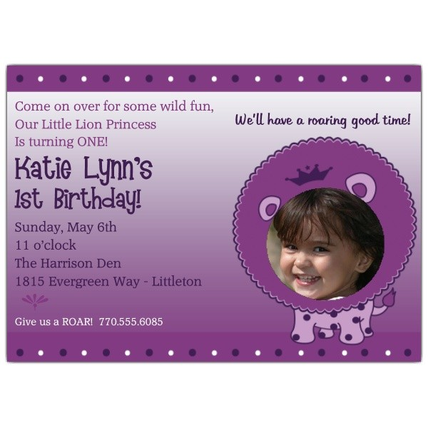 1st birthday little lion princess photo invitations p 606 75 lp01