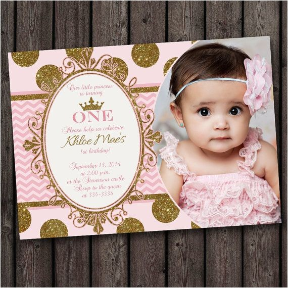 Princess 1st Birthday Invitation Wording First Birthday Pink and Gold Invitation Princess