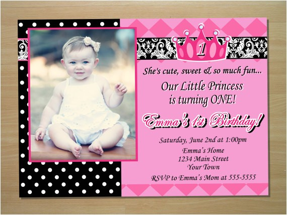 princess 1st birthday invitation digital