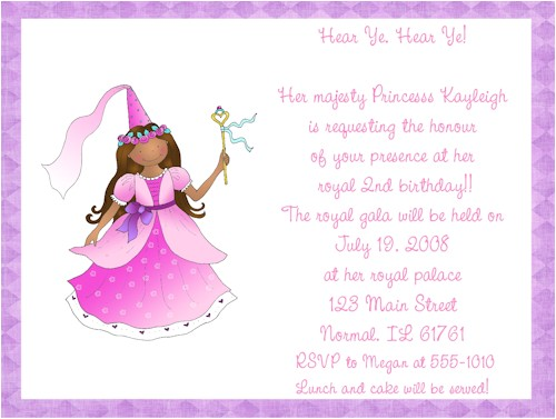 princess party invitation wording